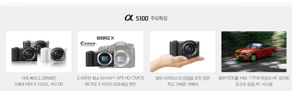 A5100 주요특징, 더욱 빠르고 강력해진 5세대 NEX-5 시리즈, A5100, 2,430만 화소 Exmor™ APS HD CMOS BIONZ X 이미지 프로세싱 엔진, 알파 미러리스의 강점을 모두 담은 작고 가벼운 카메라, 화면 92%를 커버, 179개 위상차 AF 포인트 초고속 듀얼 AF 시스템