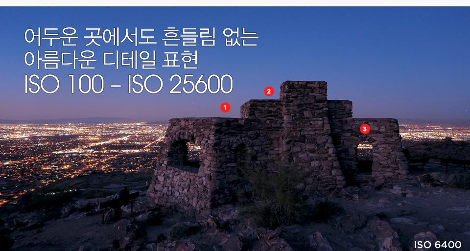 어두운 곳에서도 흔들림 없는 아름다운 디테일 표현 ISO 100 – ISO 25600