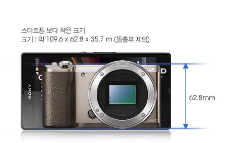 스마트폰 보다 작은 크기, 크기 : 약 109.6 x 62.8 x 35.7 m (돌출부 제외)